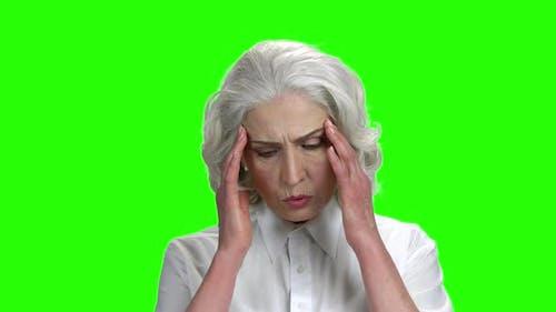 Mature Woman Having Severe Headache.