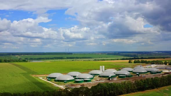 Modern biogas power plant. Storage facility cereals and production of biogas