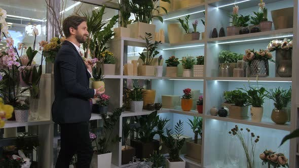 Thumbnail for Floristical Salon Customer Choosing Potted Flowers