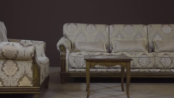 Thumbnail for Sofa with Textile Upholstery, Chair and Coffee Table with Carved Wooden Legs