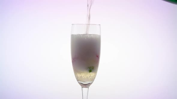 Thumbnail for Rosebud at the Bottom of the Glass, the Waiter Pours Champagne Into It. White Background. Close Up