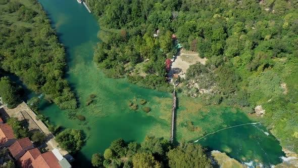 Aerial top down view over Croatian waterfalls
