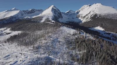 Ski Slope in High Tatras Mountains Aerial