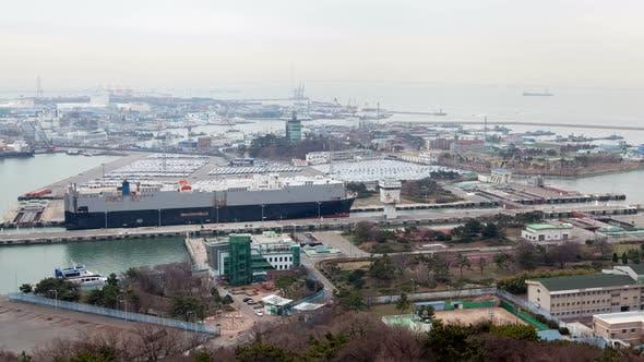 Timelapse Ship Sails Along Incheon Shipping Lock