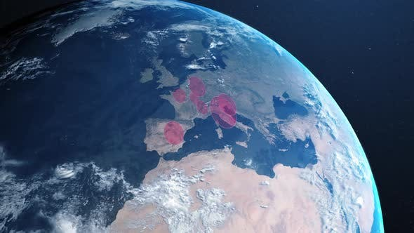 Animation of the planet earth spinning around and countries turning red through circles
