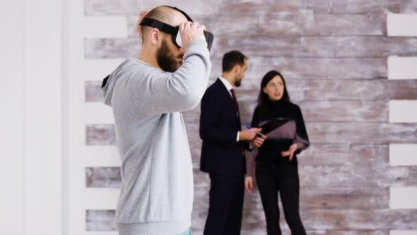 Thumbnail for Experiencing Virtual Reality with Headset in New Apartment