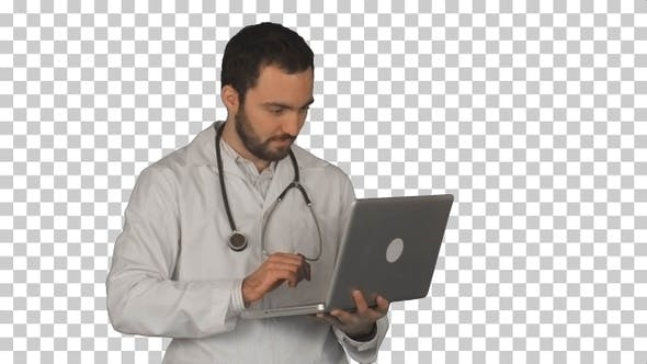 Thumbnail for Medical doctor working with laptop, Alpha Channel