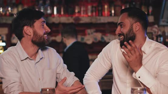 Thumbnail for Two Happy Old Friends Drinking Draft Beer and Talking in the Sport Bar Friends Sitting at Bar