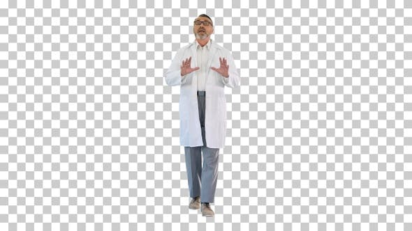 Doctor consulting patient while walking, Alpha Channel
