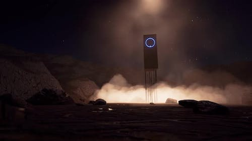 Sci Fi Object on Another Planet in Fantastic Style on Dust Rock Landscape