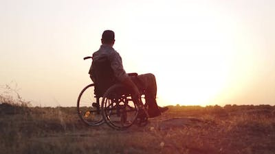 Soldier Sitting in a Wheelchair on a Meadow