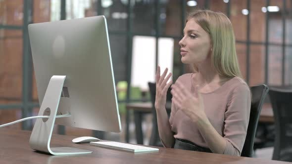 Thumbnail for Working Woman Doing Video Chat on Computer