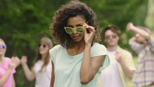 Thumbnail for Happy Biracial Female Dancing With Friends at Pool Party, Youthfulness, Summer
