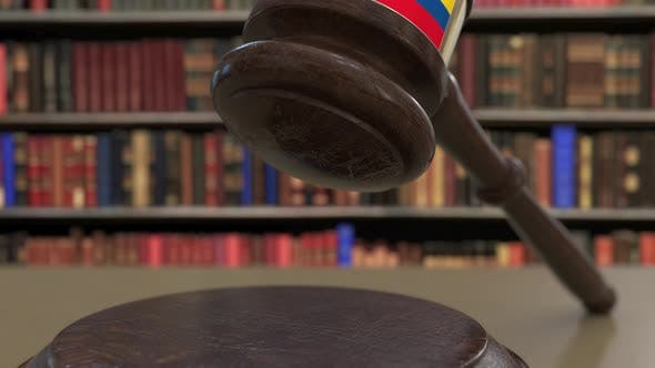Thumbnail for Flag of Ecuador on Falling Judges Gavel in Court