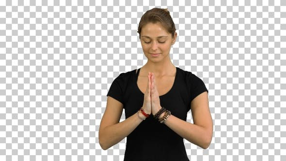 Woman with Namaste Mudra gesture meditating, Alpha Channel