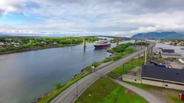 Thumbnail for Cruise Ferry Ro-Pax Ship. Bronnoysund, Beautiful Nature Norway