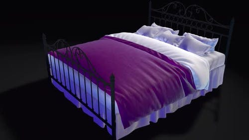 Cartoon Schattiertes Bett mit drehbarer Kamera um Bett