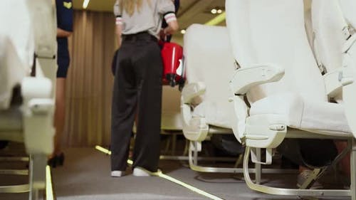 Cabin Crew Lift Luggage Bag in Airplane