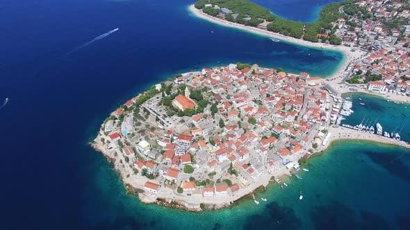 Thumbnail for Flying above famous dalmatian nautical destination, Primosten, Croatia