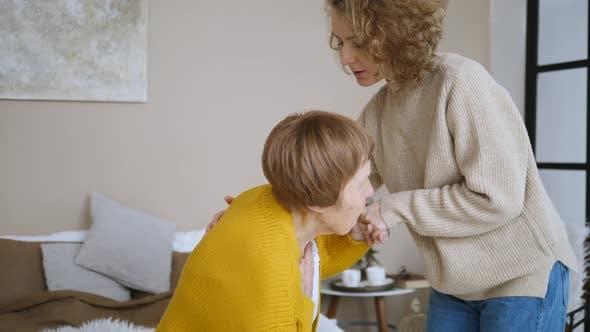 Thumbnail for Elderly Care Concept. Granddaughter Taking Care Of Her Sick Senior Grandmother