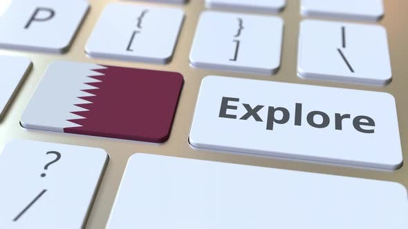 Thumbnail for EXPLORE Word and National Flag of Qatar on the Keyboard