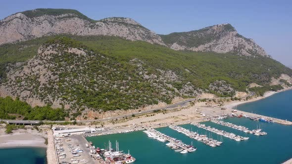 Aerial View of Sea Port with Moored Yachts and Boats