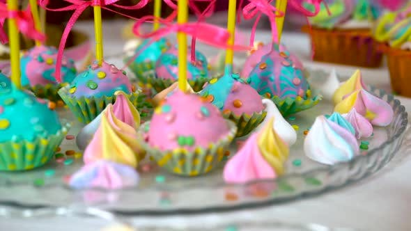 Thumbnail for Children's Birthday Party. Slow Close-up Motion of Lollipops Decorated with Sweets