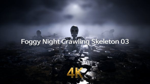 Foggy Night Crawling Skeleton 4K 03