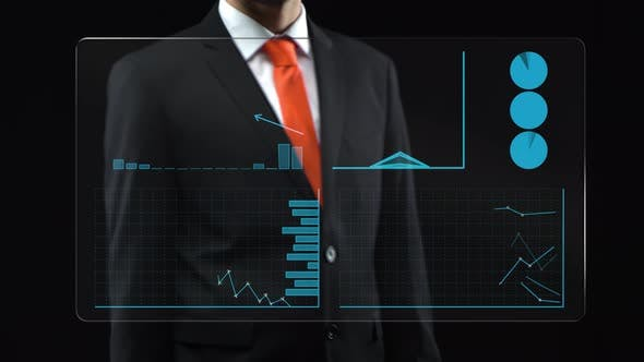 Thumbnail for Sales Infographics Screen. Businessman Uses Holographic Interface, Drawing an Ascending Financial