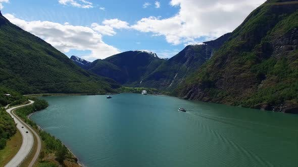 Thumbnail for Aerial view of beautiful fjord in Norway.