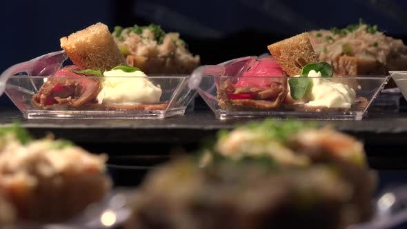 Thumbnail for Various Restaurant Meals on Tables - Closeup