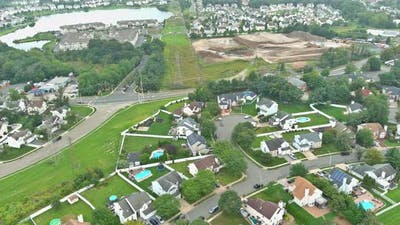 Aerial View of Small Streets Residential Area a Small Town in Sayreville New Jersey