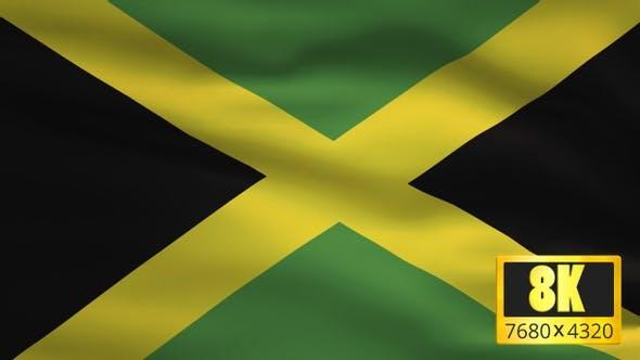 8K Jamaica Windy Flag Background