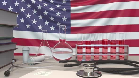 Clinic Laboratory Equipment on American Flag Background
