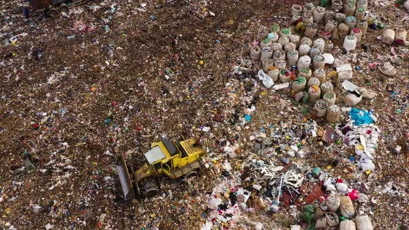 Thumbnail for Garbage Bags and Plastic Garbage in a Landfill, Top View. Flock of Seagulls