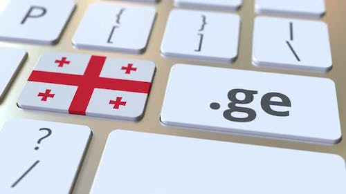 Georgian Domain .Ge and Flag of Georgia on the Buttons