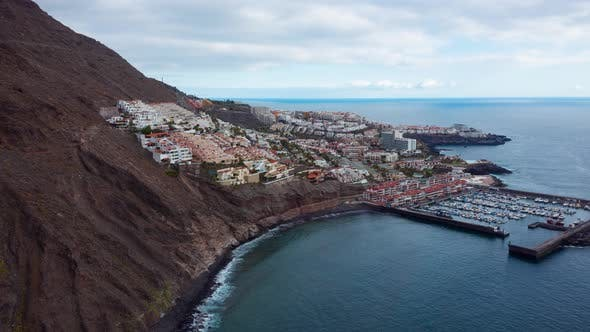 Aerial Hyperlapse of Los Gigantes View of the Marina and the City