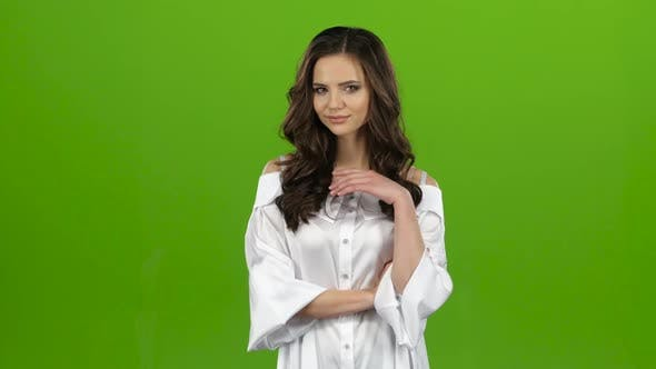 Thumbnail for Girl Is Sexually Flirting, Biting Her Lip and Winking. Green Screen