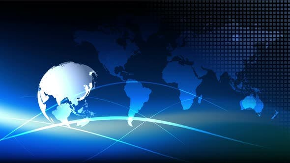 Thumbnail for Blue earth technology, business and communications background loop