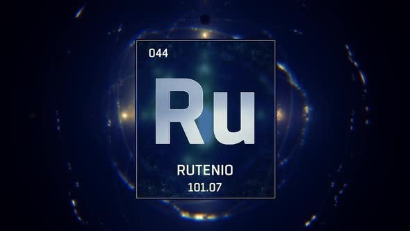 Thumbnail for Ruthenium as Element 44 of the Periodic Table on Blue Background in Spanish Language