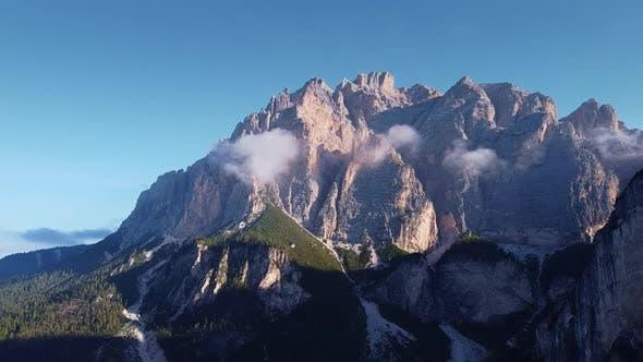 Astonishing Scenery of Italian Dolomites in Clouds