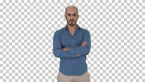 Serious Confident Arabian Man in Casual, Alpha Channel