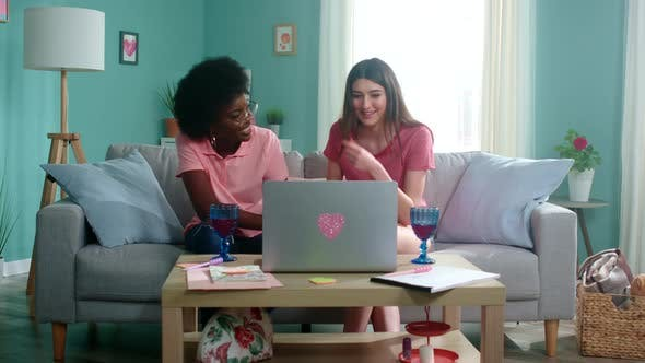 Thumbnail for Young Women Have Online Conversation with Friends