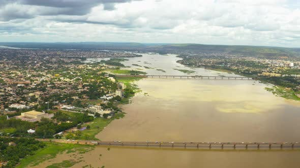 Thumbnail for Africa Mali River And Bridge Aerial View