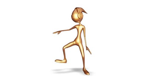 3d Character Gold Man Dancing Loop on White Background