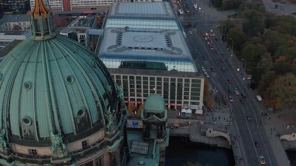 Thumbnail for AERIAL: Close Up of Berlin Cathedral, Germany in Fall Colors at Beautiful Sunset