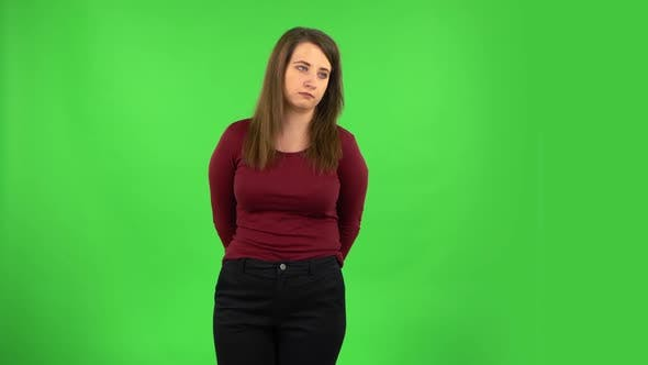 Thumbnail for Pretty Girl Is Waiting and Yawning with Boredom. Green Screen