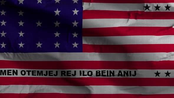 Thumbnail for Bikini Atoll Flag Textured Waving Background 4K