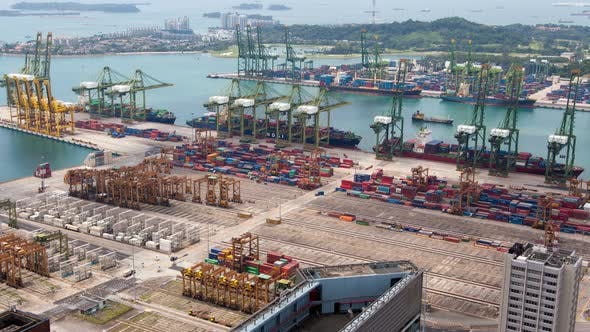 Thumbnail for Singapore Cityscape of Container Port Logistics