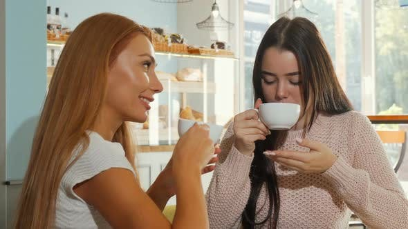 Thumbnail for Happy Female Friends Smiling To the Camera, While Having Coffee Together